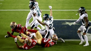Eagles stun 49ers in NFL, Rams' Ramsey and Giants WR Tate trade punches