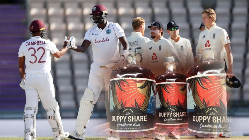 West Indies celebrate win with Duppy Share Rum