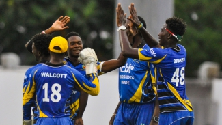 "The Barbados Pride celebrate a wicket  during their Group ""B"" WINDIES Super50 Cup match against the Jamaica Scorpions on Saturday, October 20, at Kensington Oval, Barbados."