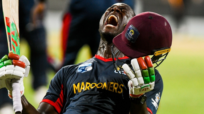 Carlos Brathwaite screams delight after victory  during the Grand Final of the Super50 Cup between Guyana Jaguars and CCC Marooners on Sunday, October 28 at Kensington Oval, Barbados.