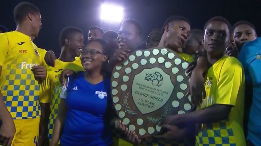 Clarendon College players celebrate winning the 2019 Olivier Shield.