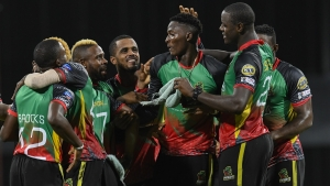 St Kitts Nevis and Patriots celebrate winning match 25 of the Hero Caribbean Premier League between Barbados Tridents and St Kitts Nevis Patriots at Kensington Oval on September 28, 2019 in Bridgetown, Barbados.