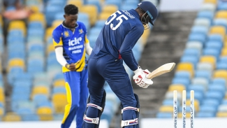 Barbados Pride bowler Shamar Springer celebrates the wicket of USA Cricket's Elmore Hutchinson during their CWI Regional Super50 Festival game at Kensington Oval.