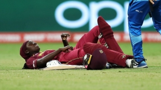 Windies women captain Stafanie Taylor grimaces after straining a groin muscle during her team's ICC Women's T20 World Cup match against England on Saturday.